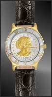 Susan B. Anthony Dollar Ladies Leather Coin Watch R323-SBA2-L0