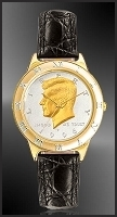 JFK Half Dollar Mens Leather Coin Watch R331-JFK2-0