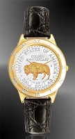 "American Bison ""Golden Anniversary"" Commemorative Half Dollar Mens Strap Coin Watch R331-NBU2-0"