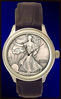 Silver Eagle Dollar Mens Coin Watch With Uncirculated Antiqued Bullion Coin and Leather Strap