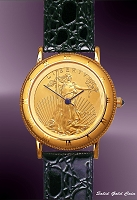 Coinwatch Brand Mens Solid Gold Eagle Coin Watch UC333-AE25-0