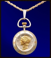 Mercury Dime Pendant Watch on 18KT Gold & Sterling Silver Chain