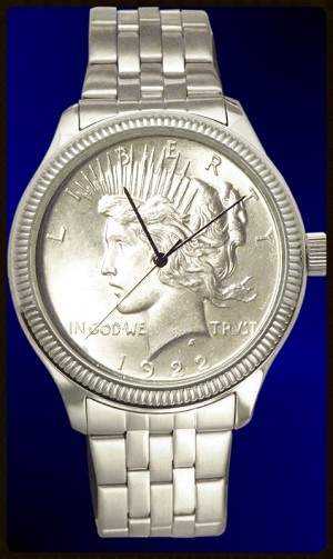 Peace Silver Dollar Mens Coin Watch With Uncirculated Coin and Stainless Steel Bracelet DS111-PD1-1