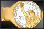 Presidential Statue of Liberty Dollar Gold Plated Money Clip C273-PSL2
