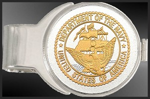 Navy Medallion Nickel Finish Money Clip C287-MNA2