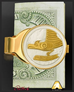 Native American Medallion Goldtone Gold Plated Money Clip C303-NEA2