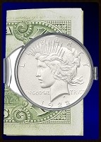 Peace Silver Dollar Nickel Plated Money Clip C387-PD1