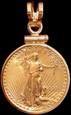 5 Dollar Gold Eagle Coin Necklace NCM8-5E-18G8
