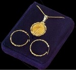 5 Dollar Gold Eagle Fancy Wire Necklace & Earrings Set NFW8-5E-20W8-Set