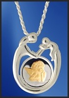 Sterling Mother and Child AureTone Angel Medallion Necklace NMC5-A2-18DC5