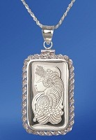 PAMP Fortuna 10g Fine Proof Silver Bar Necklace NPRR5-F10-20DC5