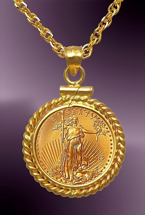 5 Dollar Gold Eagle Twist Mount Necklace Ntm8 5e 20b8