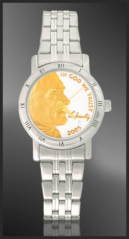 Jefferson Nickel Ladies Bracelet Coin Watch C115-FJN2-1