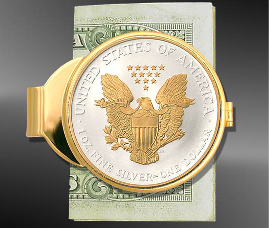 Empty Gold Plated Money Clip For Us Silver American Eagle