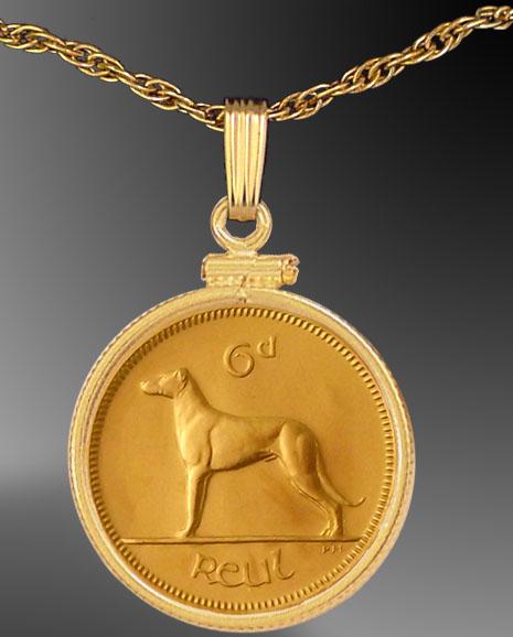 Irish Sixpence Coin Mount Necklace NCM6-FIR2-20B3