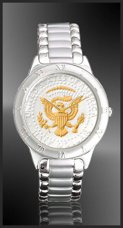 Presidential Seal Half Dollar Mens Bracelet Coin Watch R111-PS2-1