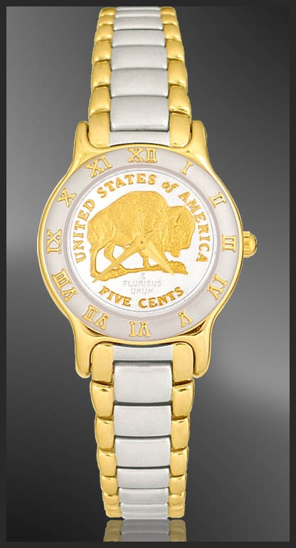 Bison Nickel Ladies Bracelet Coin Watch  R323-FBN2-2