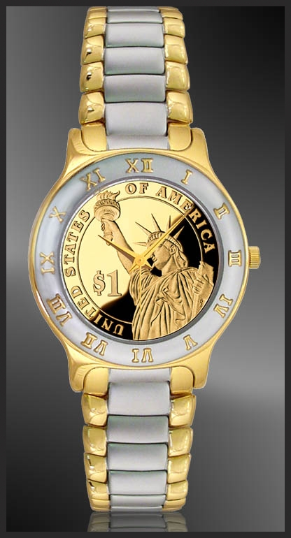 Statue of Liberty Dollar Mens Bracelet Coin Watch R323-PSLP-2