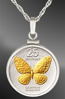 Philippines 25 Centimos Butterfly Coin Necklace NCM5-FPH2-20B5