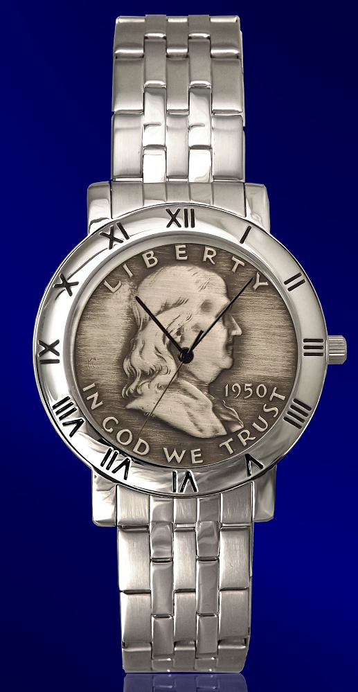 Ben Franklin Half Dollar Mens Bracelet Coin Watch C115-BF9-1