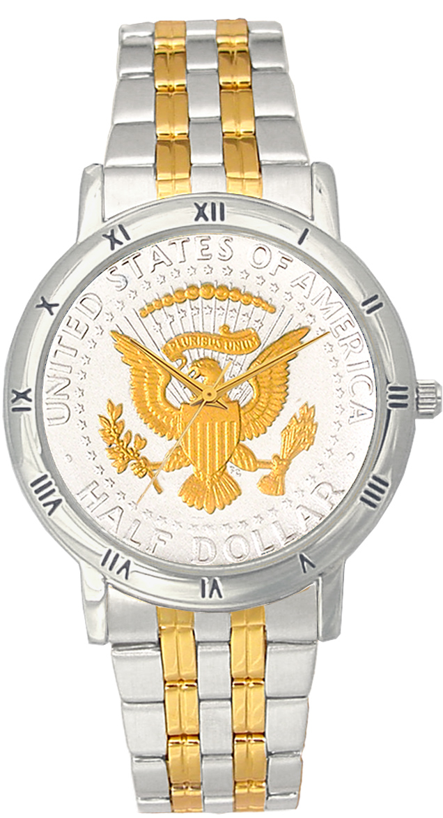 Presidential Seal Half Dollar Mens Bracelet Coin Watch C115-PS2-2