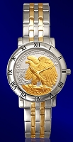 Walking Eagle Half Dollar Mens Bracelet Coin Watch C115-WE2-2