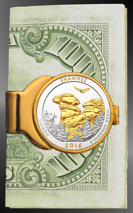 America The Beautiful Quarters Featherweight Gold Plated Money Clip C243-IUS2