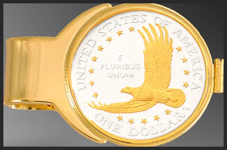 Eagle Dollar (Sacagawea) Gold Plated Money Clip C273-ED2