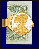 Walking Liberty Gold Plated Money Clip C303-WL2