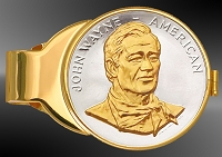 John Wayne US Mint Medal Gold Plated Money Clip C333-RJW2