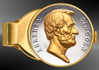 Abraham Lincoln US Mint Medal Gold Plated Money Clip C333-MAL2