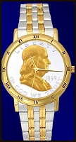 Ben Franklin Half Dollar Mens Bracelet Coin Watch C335-BF2-2