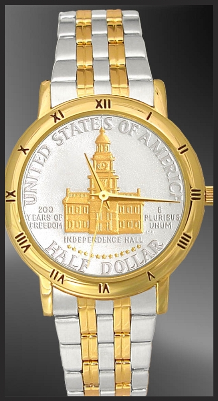 Independence Hall Half Dollar Mens Bracelet Coin Watch C335-IH2-2