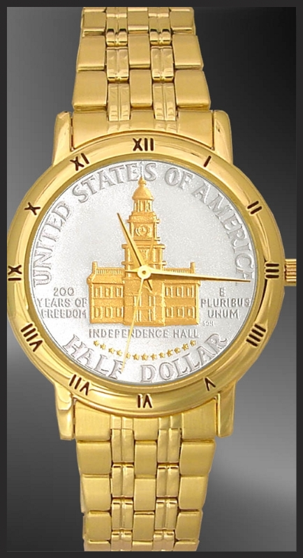 Independence Hall Half Dollar Mens Bracelet Coin Watch C335-IH2-3
