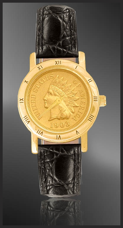 Indian Head Penny Ladies Strap Coin Watch C335-IP3-0