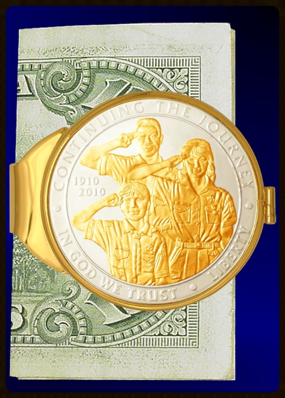 Boy Scouts of America Commemorative Silver Dollar Gold Plated Money Clip C383-BSA2