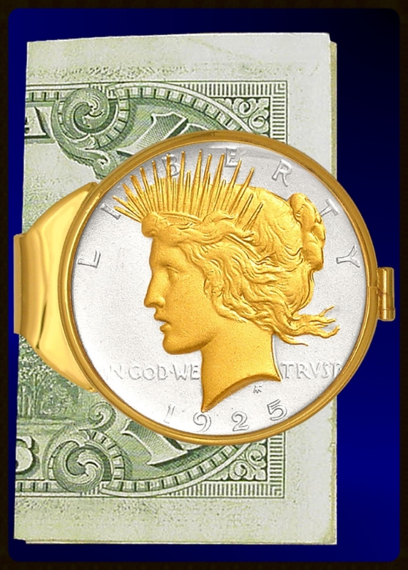 Peace Dollar Gold Plated Money Clip C383-PD2