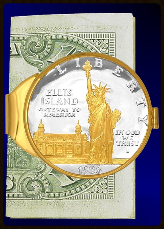 Statue of Liberty Commemorative Dollar Gold Plated Money Clip C383-SLD2