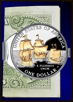 Jamestown Ships Commemorative Dollar Money Clip C387-JSD2