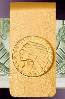 5 Dollar Gold Indian Half Eagle 14K Solid Gold Money Clip CBR8-5I