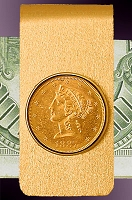 5 Dollar Liberty Gold piece 14K Solid Gold Money Clip CBR8-5L