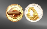America The Beautiful Quarters Gold Plated Cufflinks CL3-IUS2