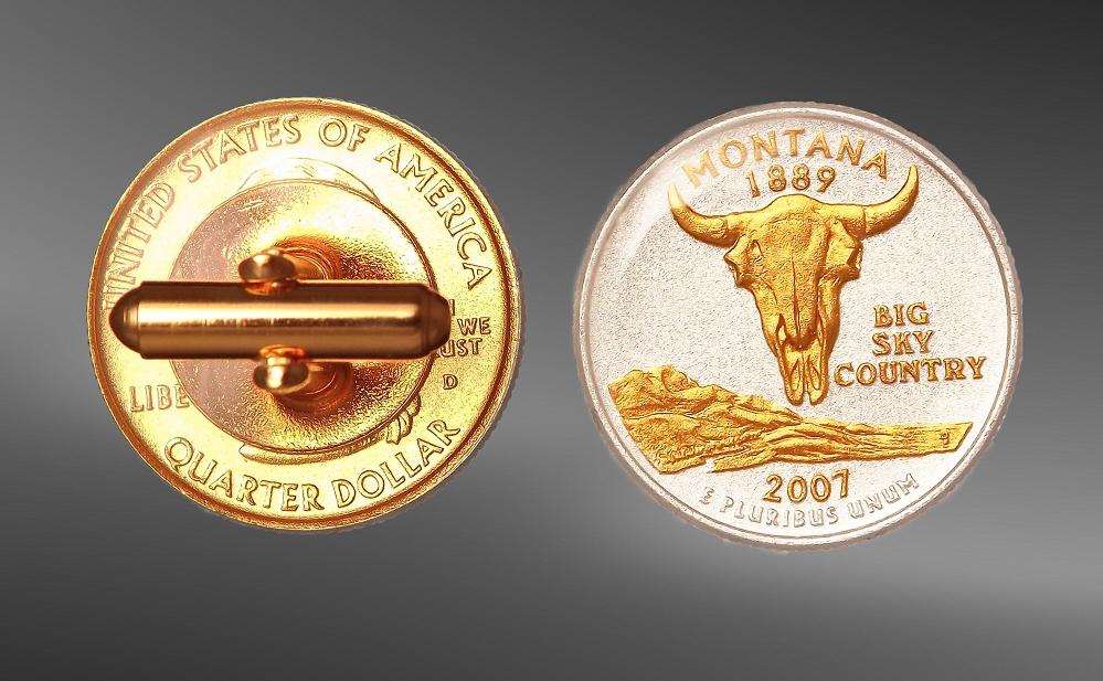 50 State Quarters Gold Plated Cuff Links CL3-QUS2