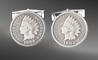 Indian Head Penny Sterling Silver Cuff Links CL5-IP1