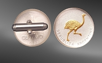 Argentina 1 Centavo Rhea Sterling Silver Cuff Links CL5-EAR2
