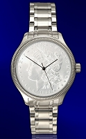 Morgan Silver Dollar Mens Coin Watch With Uncirculated Coin and Luxury Stainless Steel Bracelet