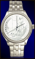 UK Silver Britannia  Mens Coin Watch With Uncirculated Coin and Stainless Steel Bracelet DS111-UKB1-1