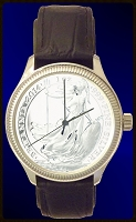 UK Silver Britannia  Mens Coin Watch With Uncirculated Coin and Leather Strap DS111-UKB1-0