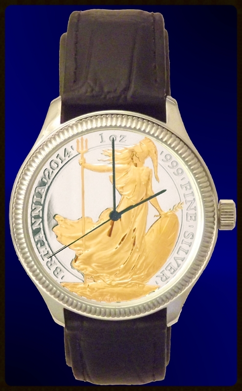 UK Silver Britannia Mens Coin Watch, Uncirculated Silver Coin with 24KT highlights and leather strap  DS111-UKB2-0