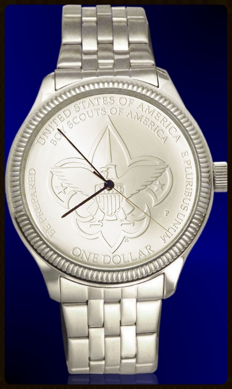 Boy Scouts of America Commemorative Silver Dollar Mens Coin Watch With Uncirculated Coin and Stainless Steel Bracelet DS111-BSA1-1